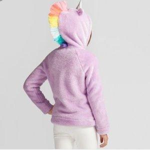 Purple Unicorn Rainbow Zip Up Hoodie Fuzzy 10/12